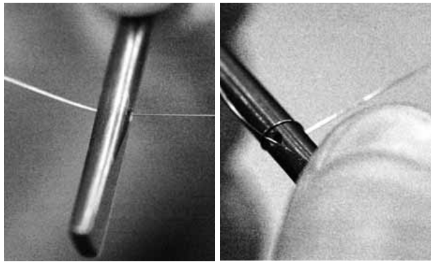 Close up images of a Harpsichord string being threaded into a hitchpin